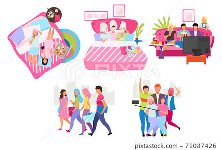 Friends group flat vector illustrations set. Young people spending time, meeting together cartoon characters. Male and female friendship. Students, girls and guys taking selfie, walking, eating pizza 71087426