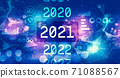 2021 New Year concept with technology light background 71088567