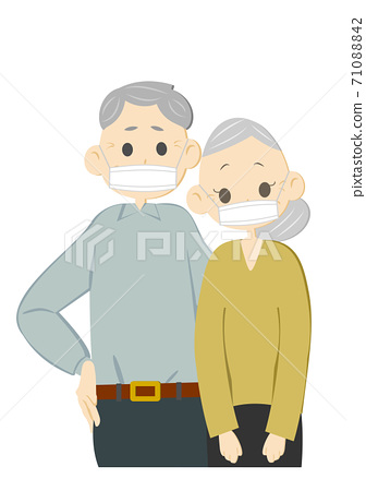 Old couple wearing a mask 71088842