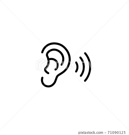 Ear icon line. Hearing symbol. Vector on isolated white background. Eps 10. 71090125