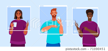 Virtual meeting illustration with diverse people, smartphones, screens.  71090451
