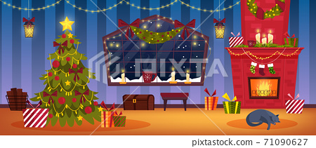 Christmas holiday room interior with brick fireplace, decorated x-mas tree, presents, stockings 71090627