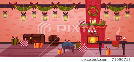 Christmas holiday room interior with fireplace, stockings, sleeping cat, table, presents.  71090718