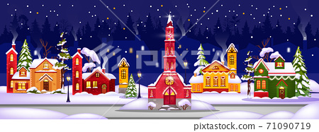 Winter Christmas vector houses illustration with town in snow drifts, night sky, x-mas tree.  71090719