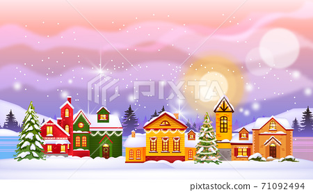 Christmas winter houses illustration with town in snow, north sky, pines, frozen village street.  71092494