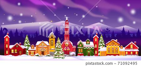 Christmas vector winter houses illustration with church, decorated facades, forest silhouette, sky 71092495
