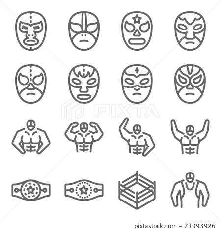 Wrestling icon illustration vector set. Contains such icon as wrestle, wrestling, Bodybuilding, Championship, Belt, Bodybuilder, and more. Expanded Stroke 71093926