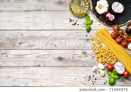 Food cooking background with vegetables on gray wooden surface 71094979
