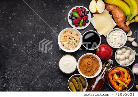 Top view of many healthy fermented probiotic and prebiotic foods 71095001