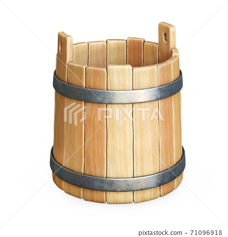 Empty wooden bucket isolated on white background 3d rendering 71096918