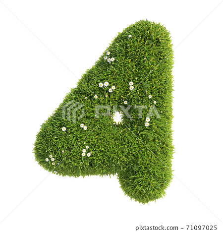 Grass font 3d rendering number 4 71097025
