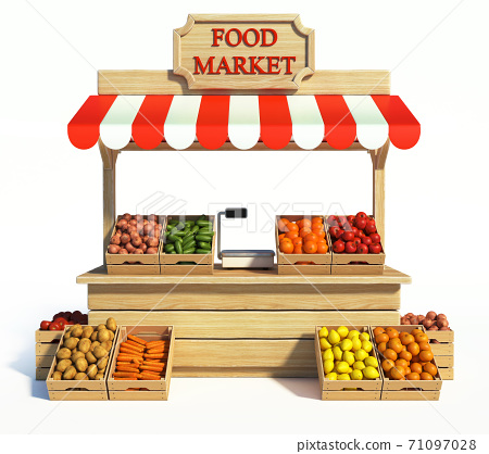 Food market kiosk, farmers shop, farm food stall, fruits and vegetables stand 3d rendering 71097028