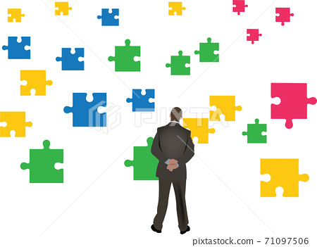 man watches free fall of puzzle pieces 71097506
