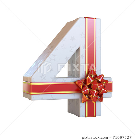 Gift box with red ribbon bow 3d font, present alphabet 3d rendering, number 4 71097527