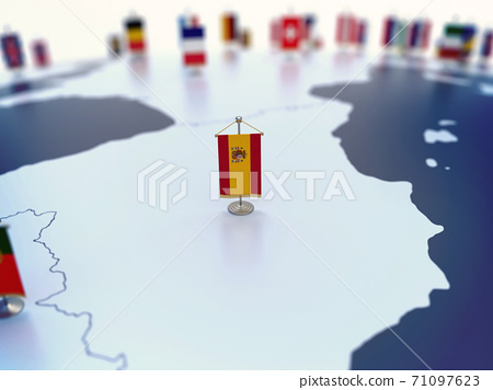 Flag of Spain in focus among other European countries flags. Europe marked with table flags 3d rendering 71097623