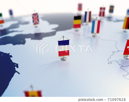 Flag of France in focus among other European countries flags. Europe marked with table flags 3d rendering 71097628