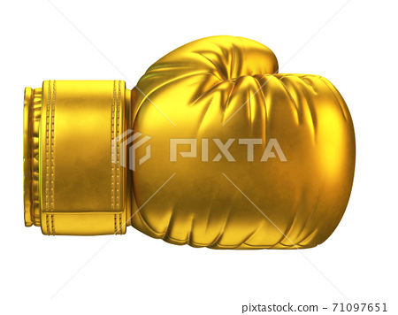 Golden boxing glove isolated on white background 3d rendering 71097651