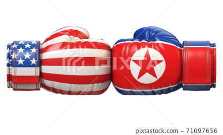 USA against North Korea boxing glove, America vs. north Korea international conflict 3d rendering 71097656