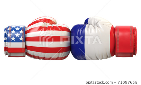 USA against French boxing glove, America vs. France international conflict or rivalry 3d rendering 71097658