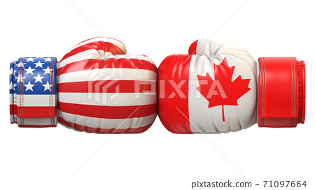 USA against Canadian boxing glove, America vs. Canada international conflict or rivalry 3d rendering 71097664