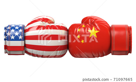 USA against Chinese boxing glove, America vs. China international conflict or rivalry 3d rendering 71097665