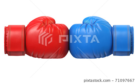 Red and blue boxing glove against each other isolated on white background 3d rendering 71097667