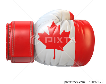 Flag of Canada on boxing glove, Canadian boxing 3d rendering 71097675