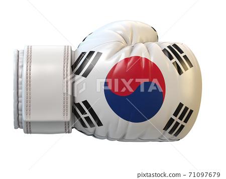 South Korea flag on boxing glove, Korean boxing 3d rendering 71097679