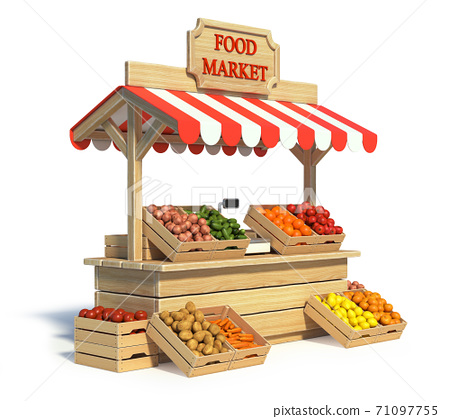 Food market kiosk, farmers shop, farm food stall, fruits and vegetables stand 3d rendering 71097755
