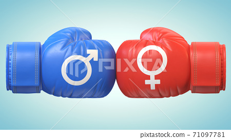 Battle of sexes, man and woman symbol on boxing gloves 3d rendering 71097781