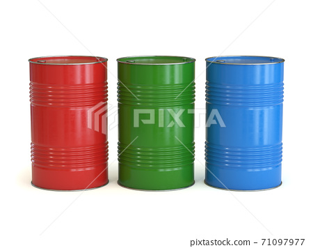 Red green and blue barrels isolated on the white background 3d rendering 71097977