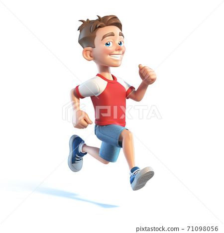 Young boy running, stylized cartoon character,  school kid 3d rendering 71098056