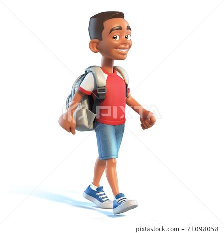 Afro American boy with school bag walking, stylized cartoon character,  school kid 3d rendering 71098058