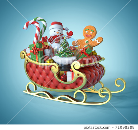 Christmas Santa sledge full of presents and christmas symbols and objects 3d rendering 71098289