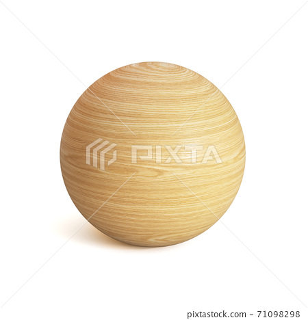Wooden sphere 3d rendering, spherical shape made of wood isolated on white background 71098298