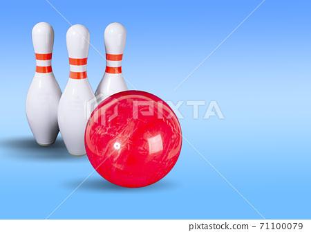 Bowling. Bowling ball and bowling pins on a beautiful background 71100079