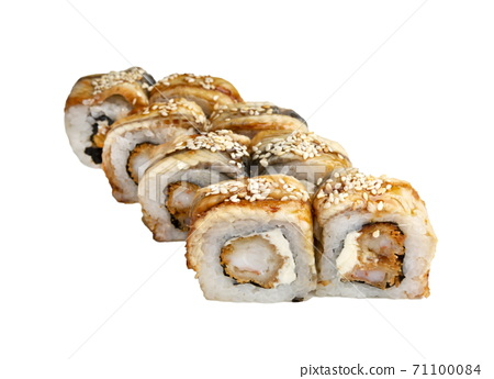 Unagi Sushi rolls- japanese food style. Isolated On White 71100084