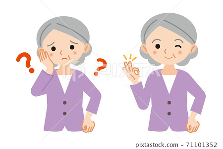 Illustration set of questions and solutions for elderly women / white background 71101352