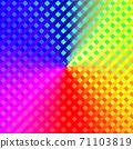 화려한 그라데이션 색상의 체크 무늬 배경 메탈릭 무지개 도트 무늬 빨강, 파랑, 노랑, 분홍, 녹색, 71103819