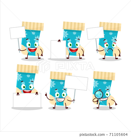 Blue christmas socks cartoon character bring information board 71105604