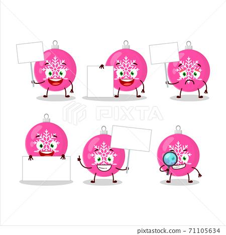 Christmas ball pink cartoon character bring information board 71105634
