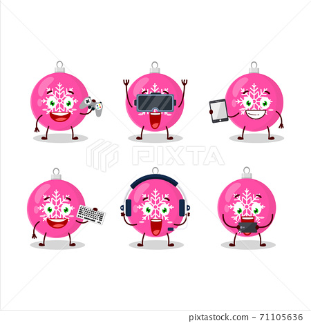 Christmas ball pink cartoon character are playing games with various cute emoticons 71105636