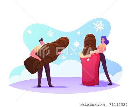 Tiny Male and Female Characters Unwrapping and Eating Huge Chocolate Santa Christmas Sweet Dessert. Xmas Holiday Treat 71113322