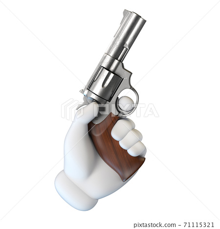 Cartoon hand holding gun 3d rendering 71115321