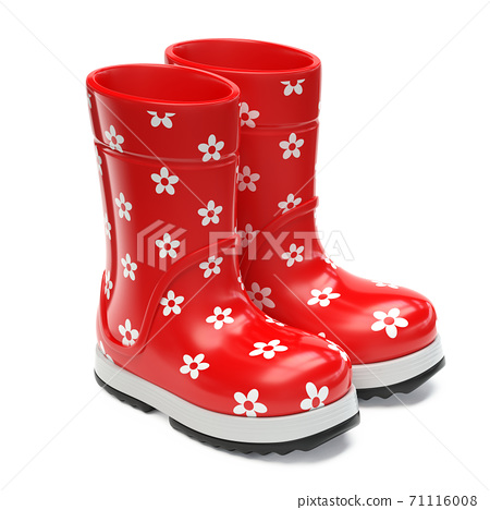 Red rubber girlie rain boots with flower print isolated on white background 3d rendering 71116008