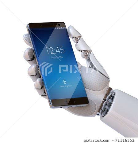 Robot hand holding smart phone 3d rendering 71116352