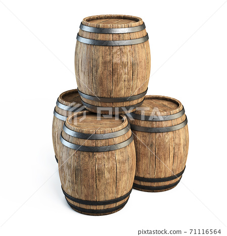 Wooden barrels isolated on white background 3d illustration 71116564
