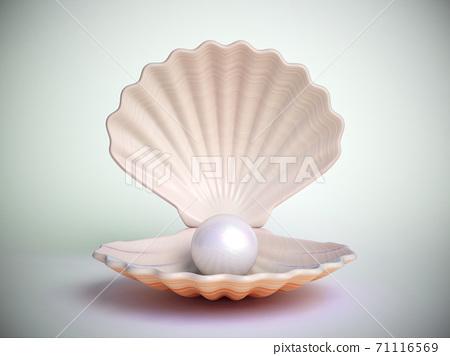 Pearl inside seashell 3d rendering 71116569