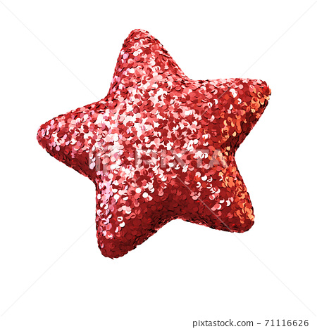 Glittery star isolated on white background, sparkly red star 3d rendering 71116626