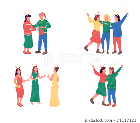 Friends on Christmas party flat color vector faceless character set 71117123